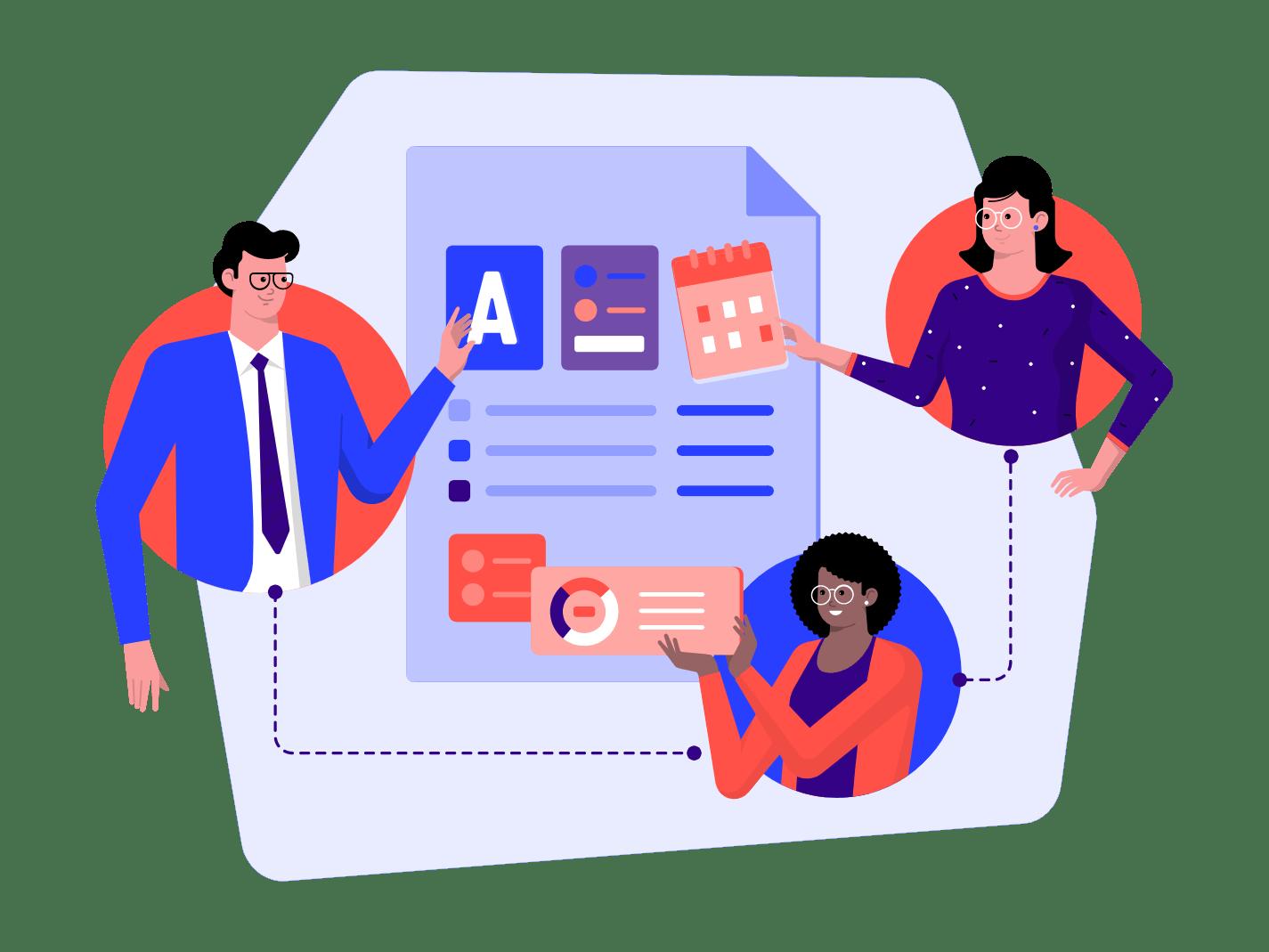 Team collaborating using no code tools