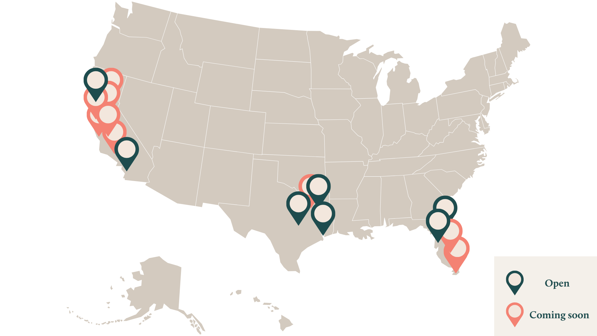 Map of Leda Locations in California, Florida and Texas