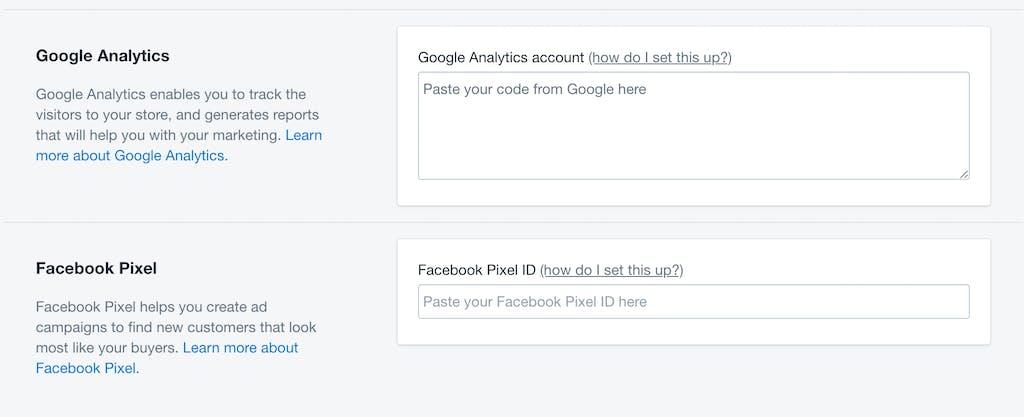 google analytics facebook pixel Shopify