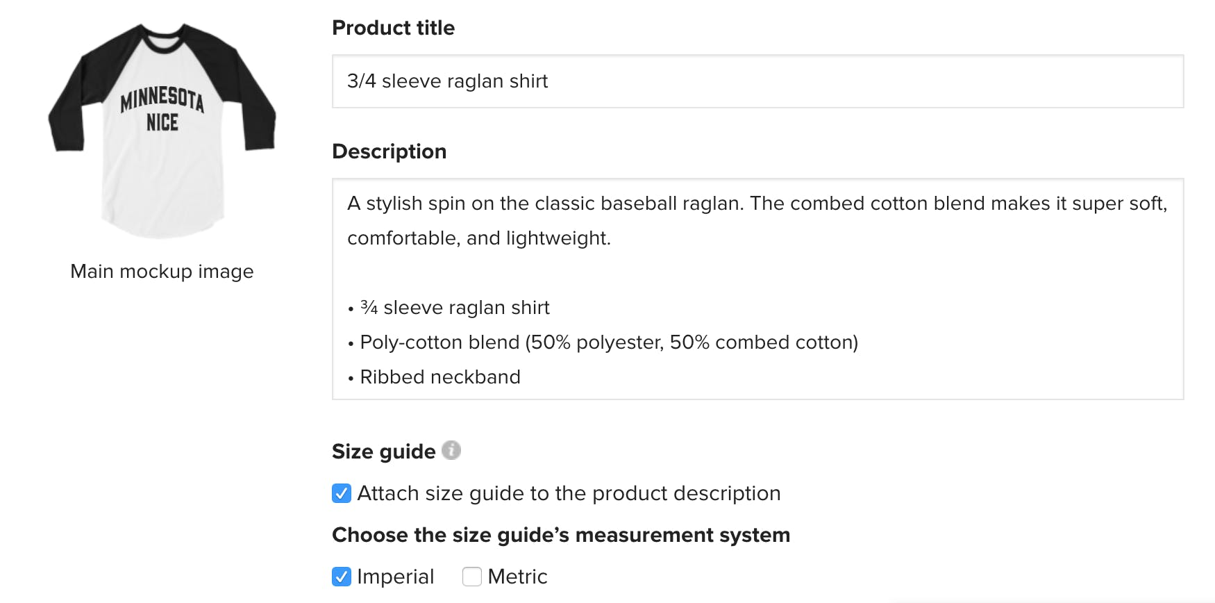 product title and description Printful