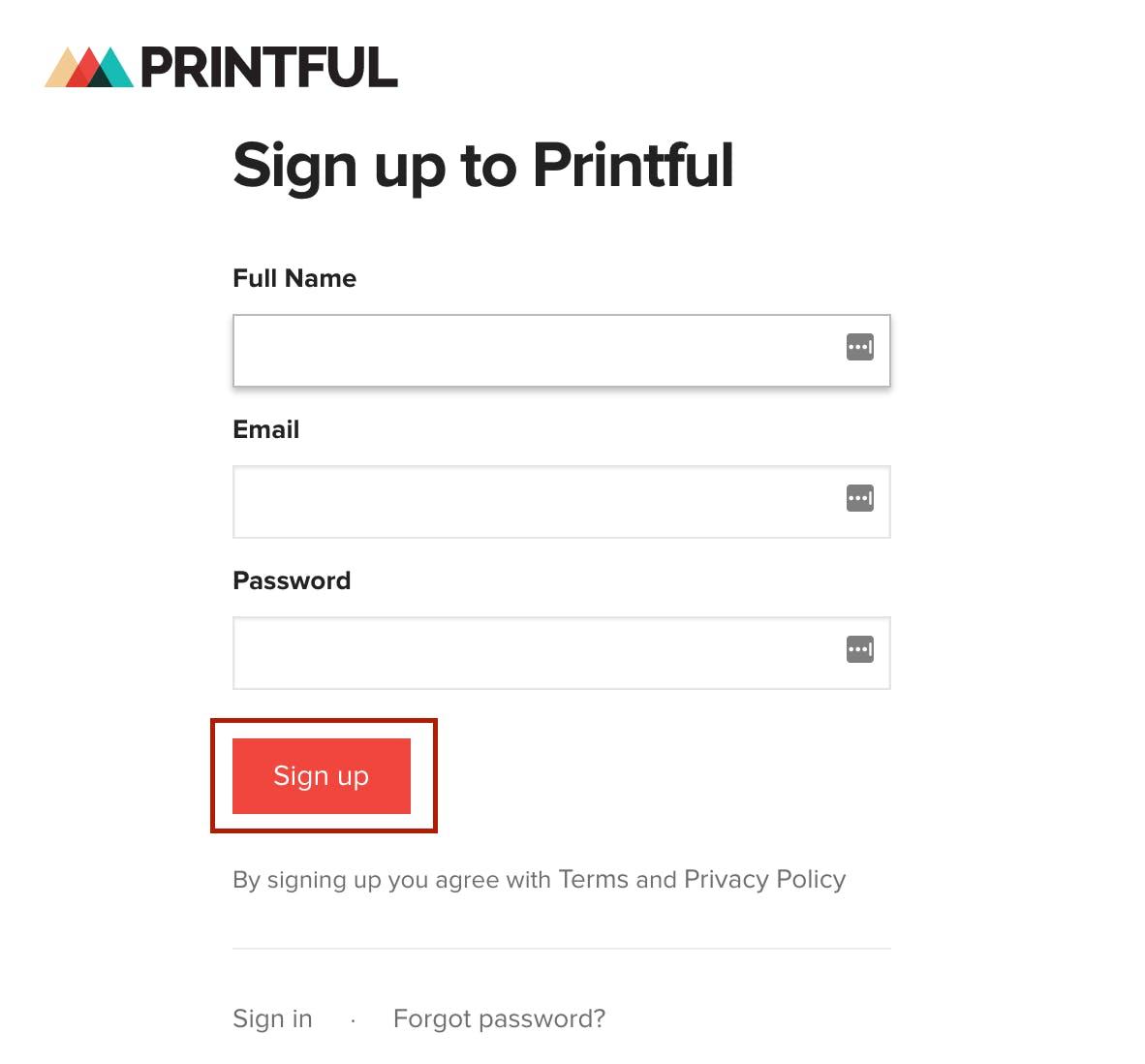 Sign up Printful