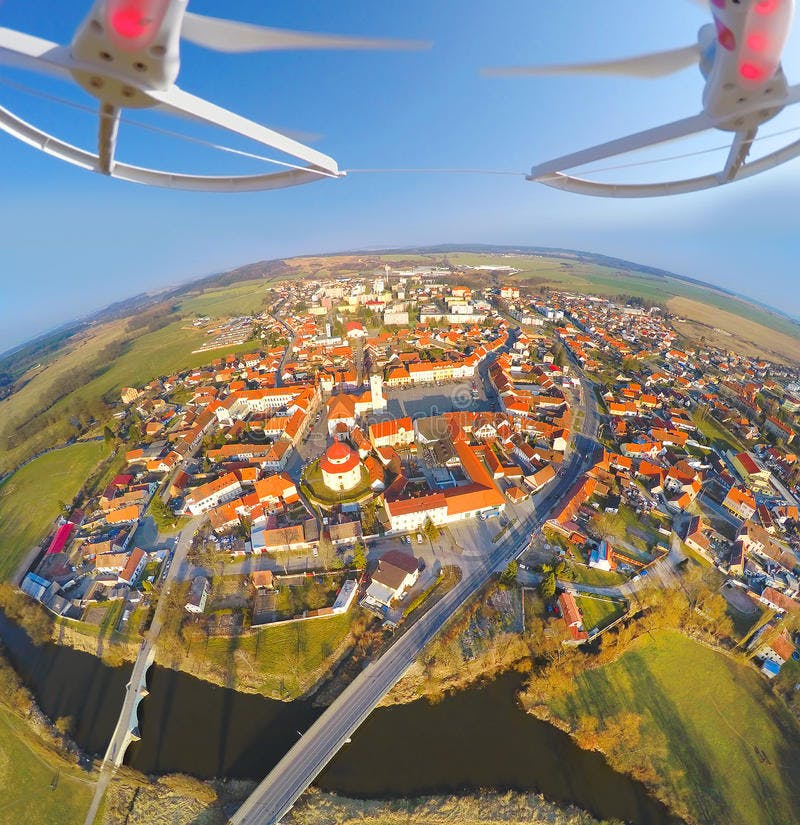 Drones over city