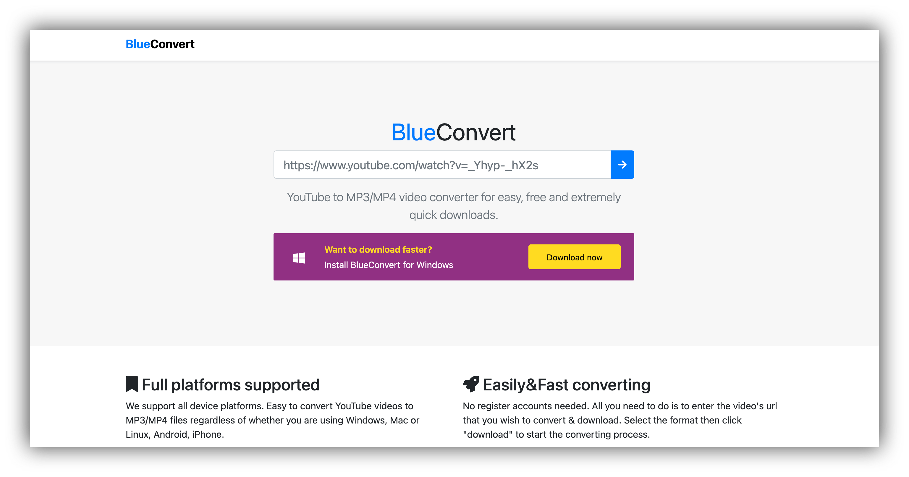 blue convert homepage