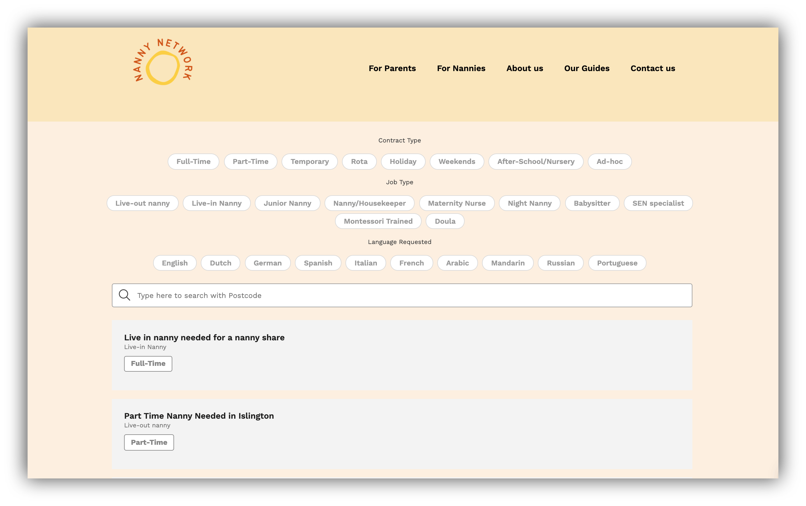 nanny network guides list