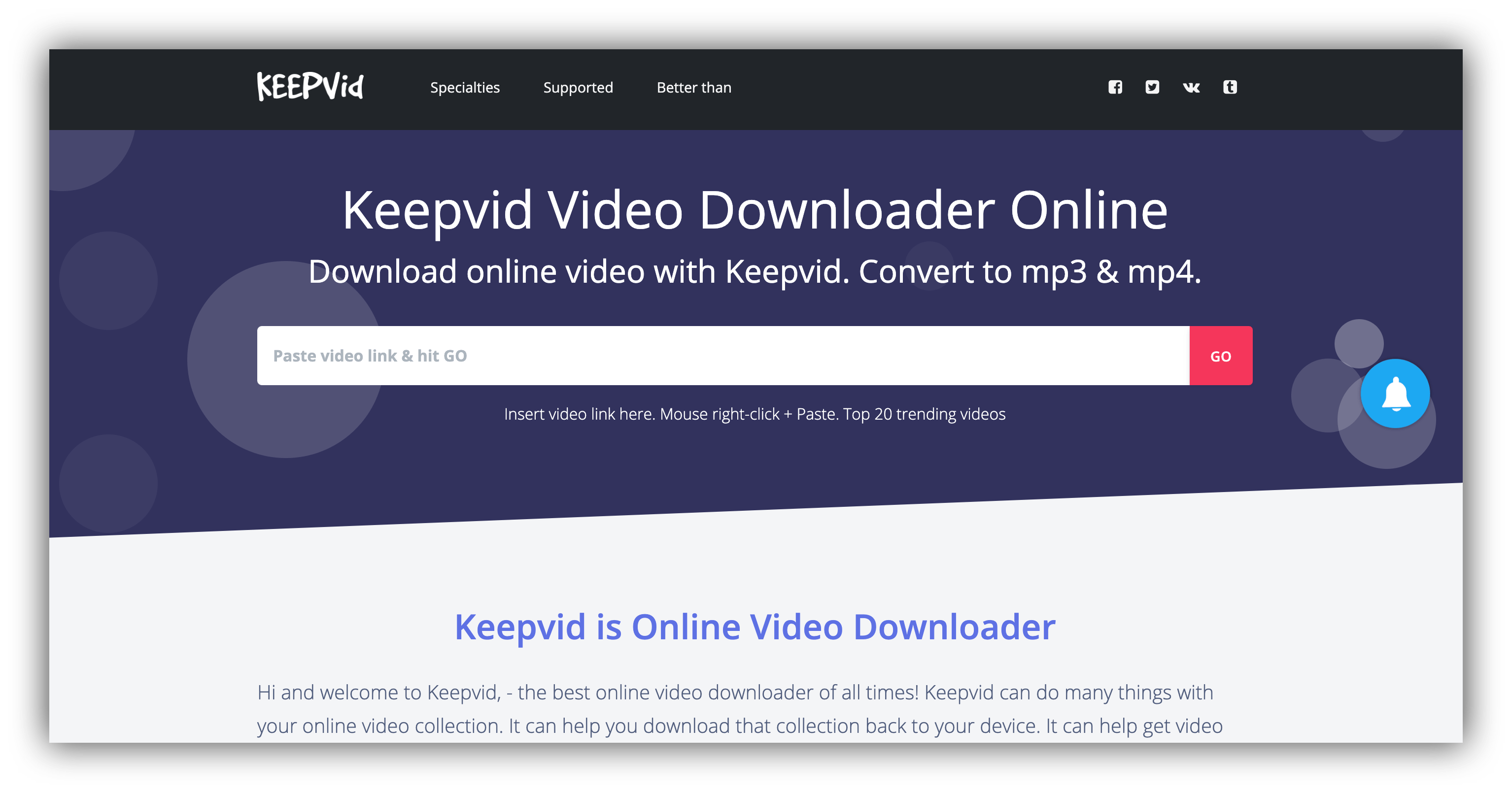 keepvid homepage