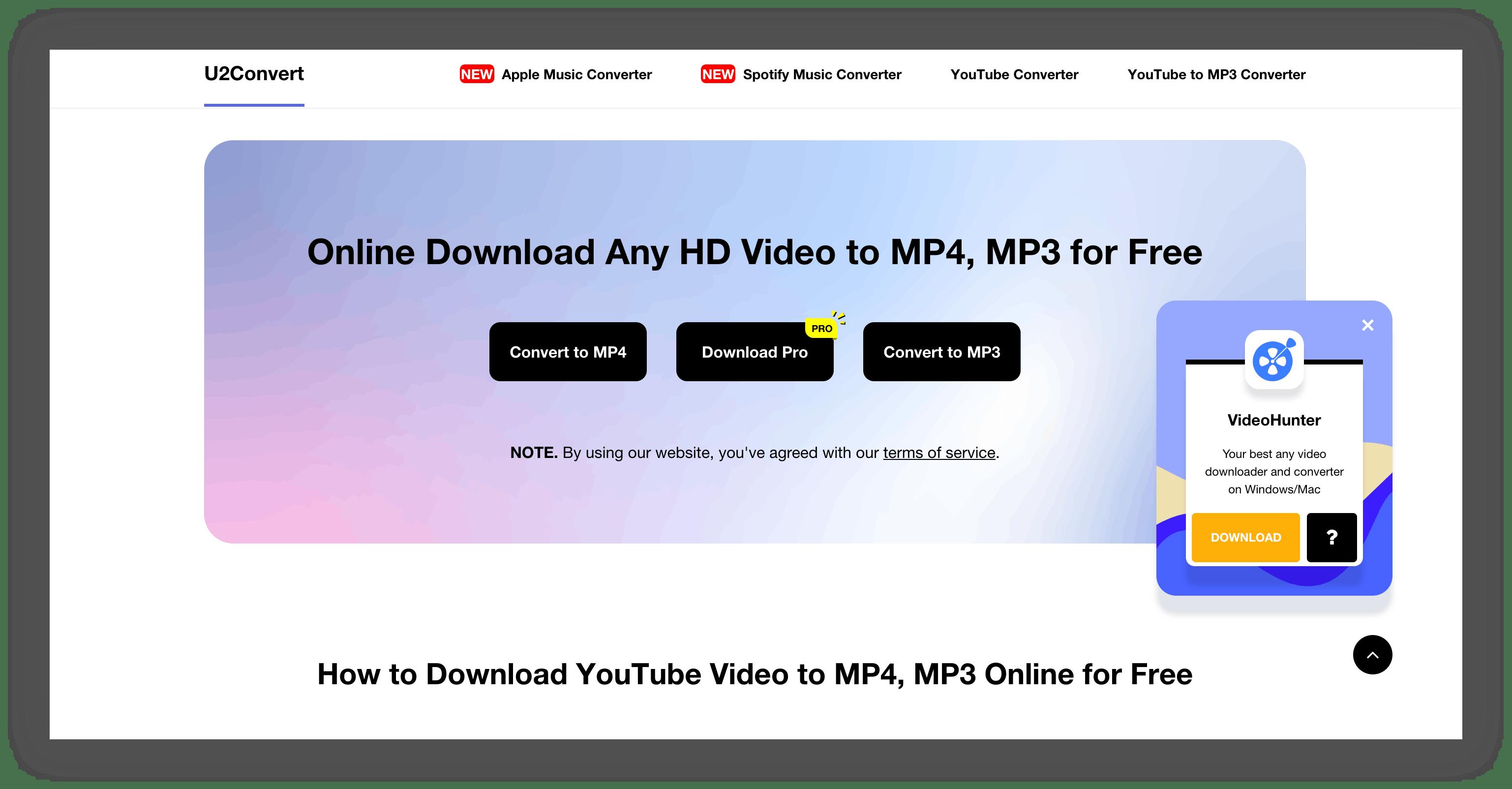 u2convert homepage