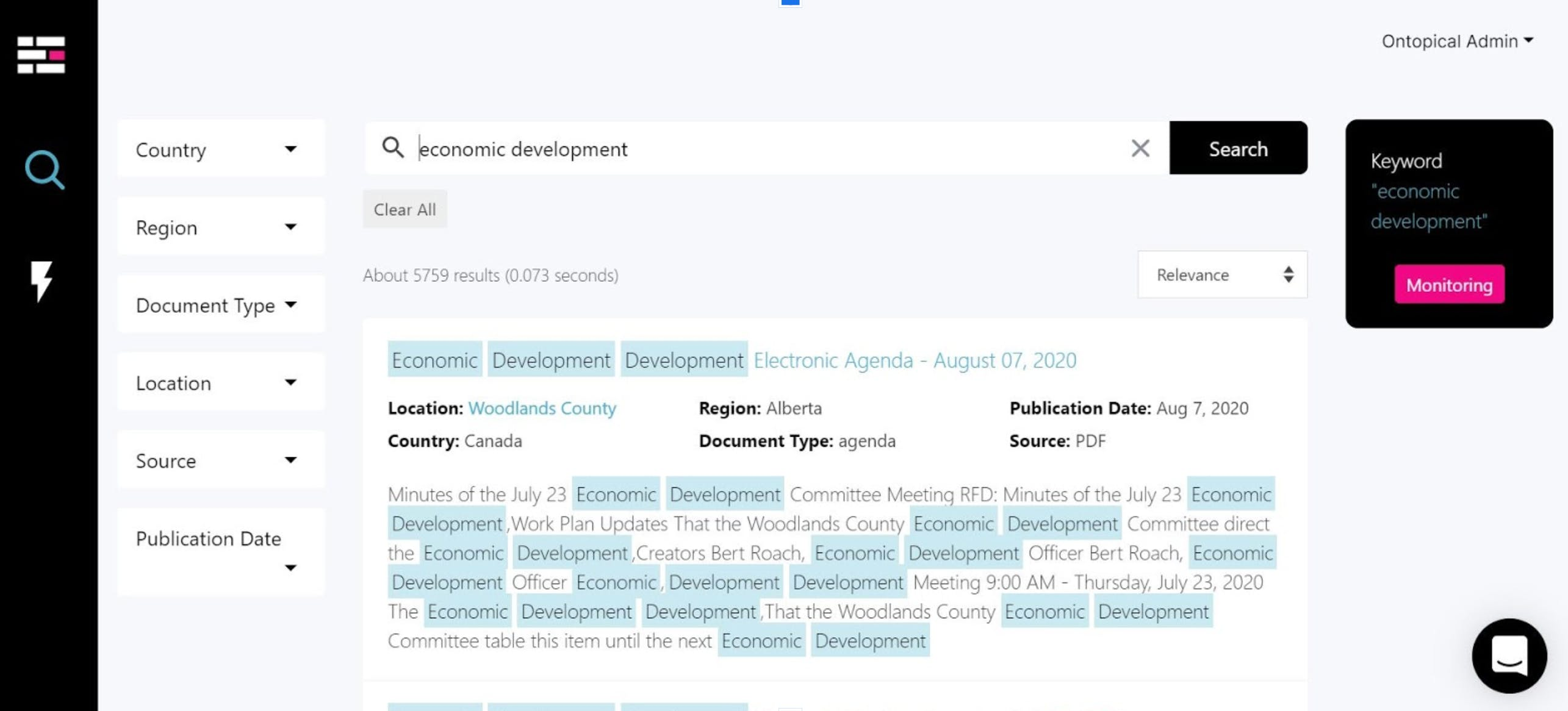 Ontopical uses full-text search from appbase.io and helps businesses cruise public government content.