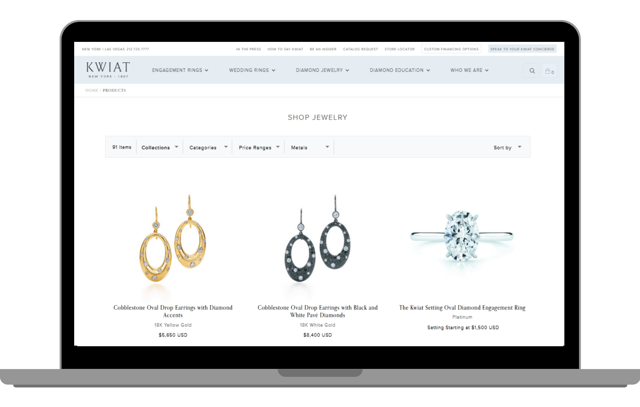 Kwiat Diamonds power their search with appbase.io
