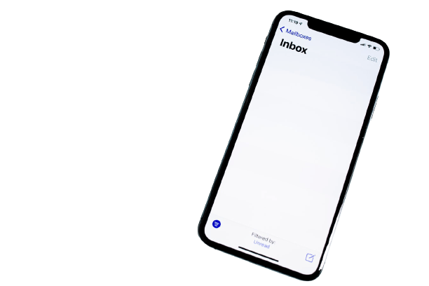 image of a smartphone with an empty email inbox