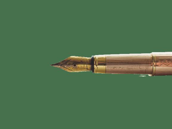 an image of a horizontal golden quill pen